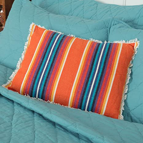 Amazon Com Vhc Brands Clarissa Jacquard Pillow 14 X 18 Tiger Orange Home Kitchen