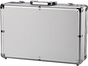 Silver Mens Briefcase Aluminum Hard Case Tool Box Metal Cash Box with Multiple Rivet Reinforcement