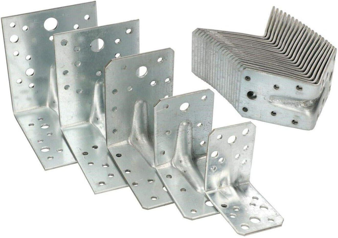 KOTARBAU Lot de 25 connecteurs dangle dangle 100 x 100 x 80 mm avec c/ône /à c/ône Angle de montage en bois Connecteur dangle de barre de haute qualit/é Argent/é