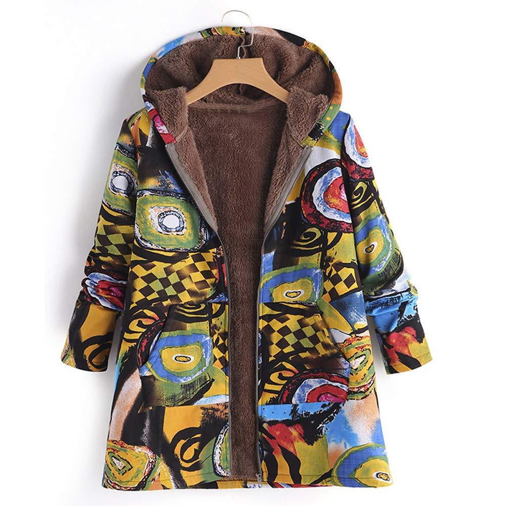UONQD Women Hooded Long Sleeve Vintage Ladies Fleece Thick Coats Zipper Coat