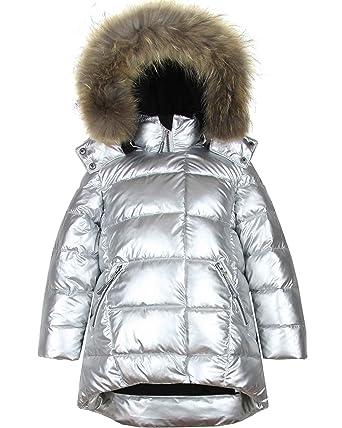 fd0df9e2 Amazon.com: Deux par Deux Girls' Puffer Coat with Real Fur in Silver ...