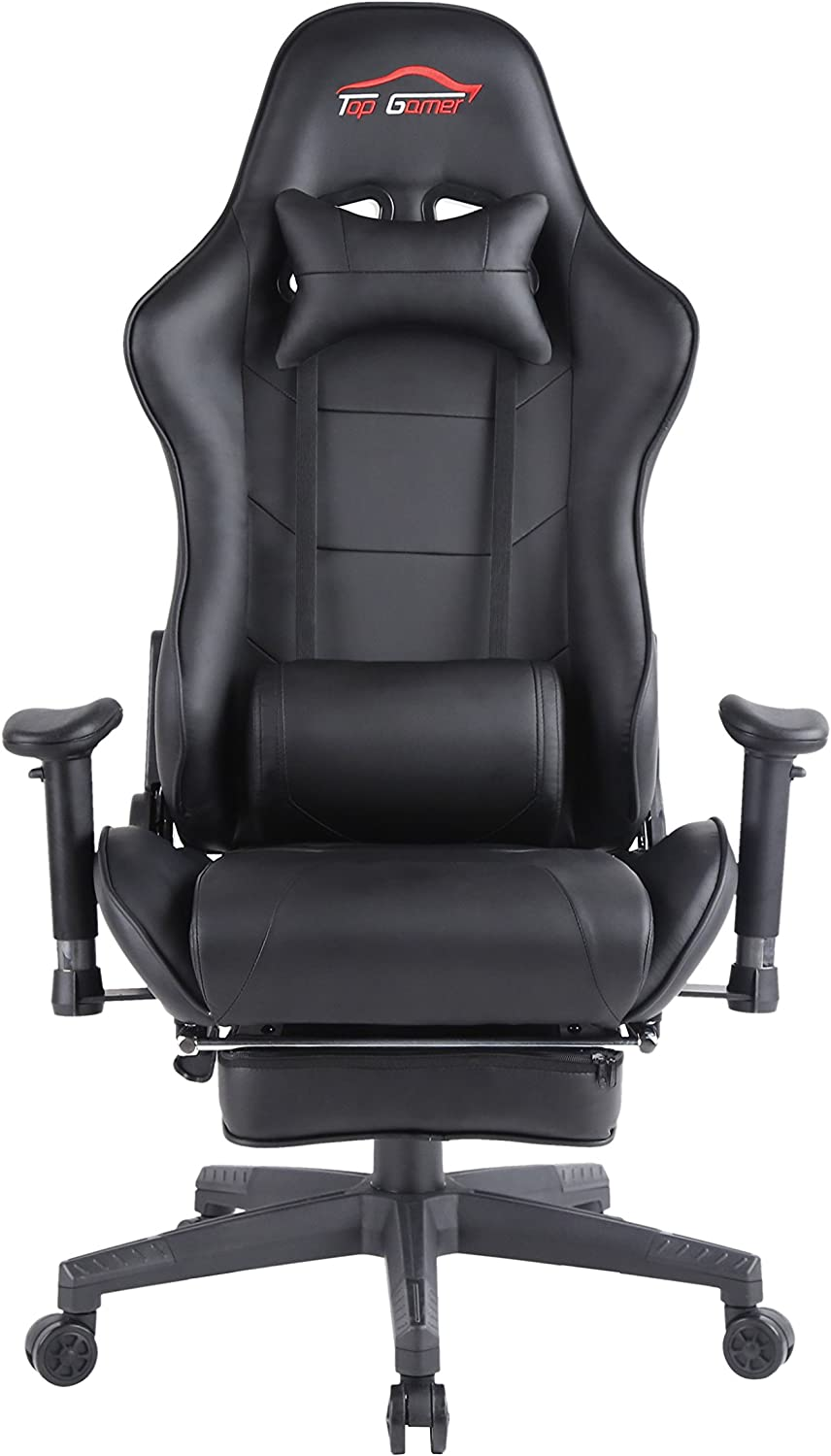 Top Gamer Ergonomic Gaming Chair High Back Swivel Computer Office Chair with Footrest Adjusting Headrest and Lumbar Support Racing Chair Black-0009