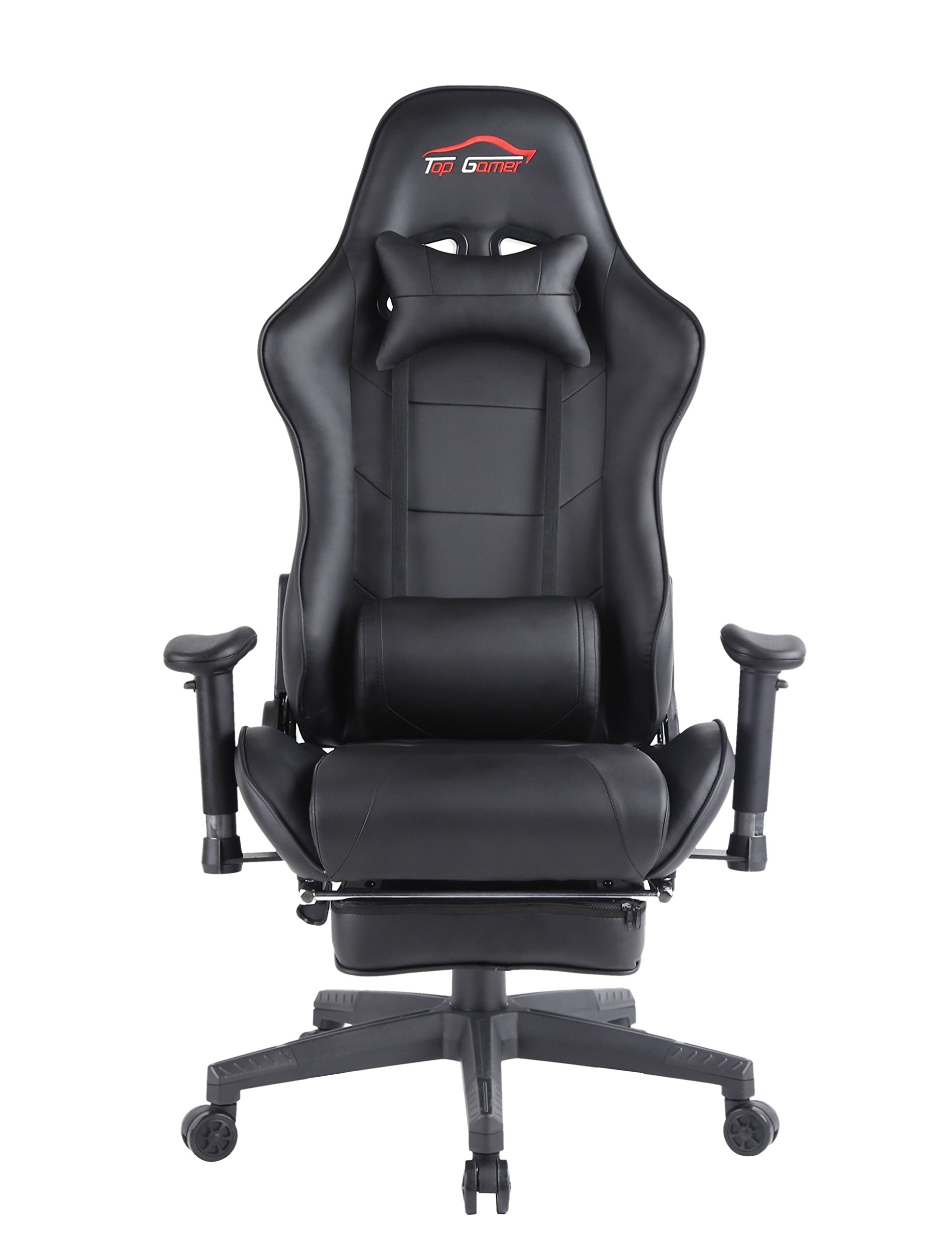 Top Gamer Ergonomic Gaming Chair High Back Swivel Computer Office Chair with Footrest Adjusting Headrest and Lumbar Support Racing Chair (Black-0009) by Top Gamer