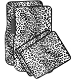 OxGord Universal Fit Front/Back Seat Leopard Carpet Mat - (Snow White)