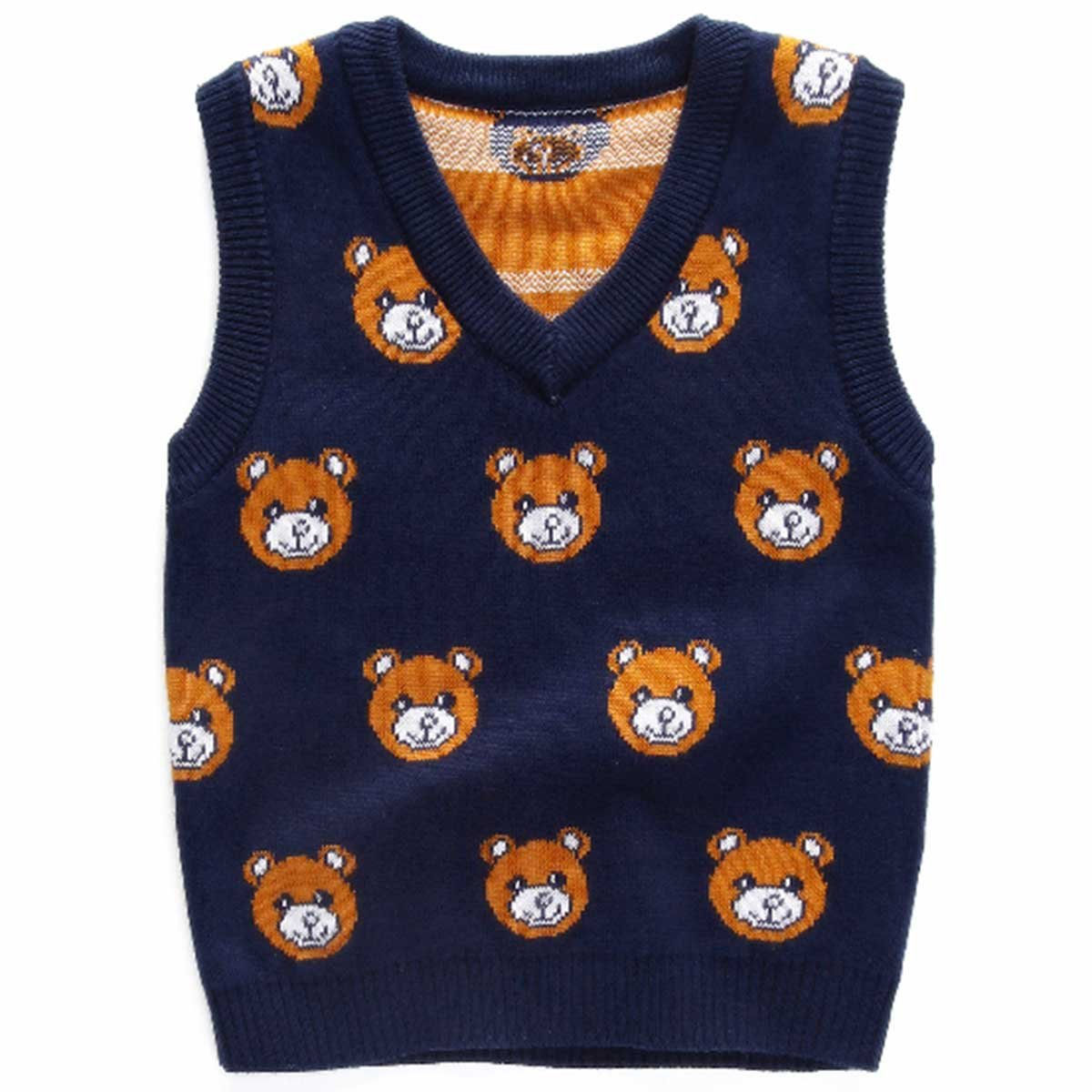 Juze Little Boys Girls Sweater,School Uniforms Multi Cable Knitted Argyle Sweater Vest Navy 120