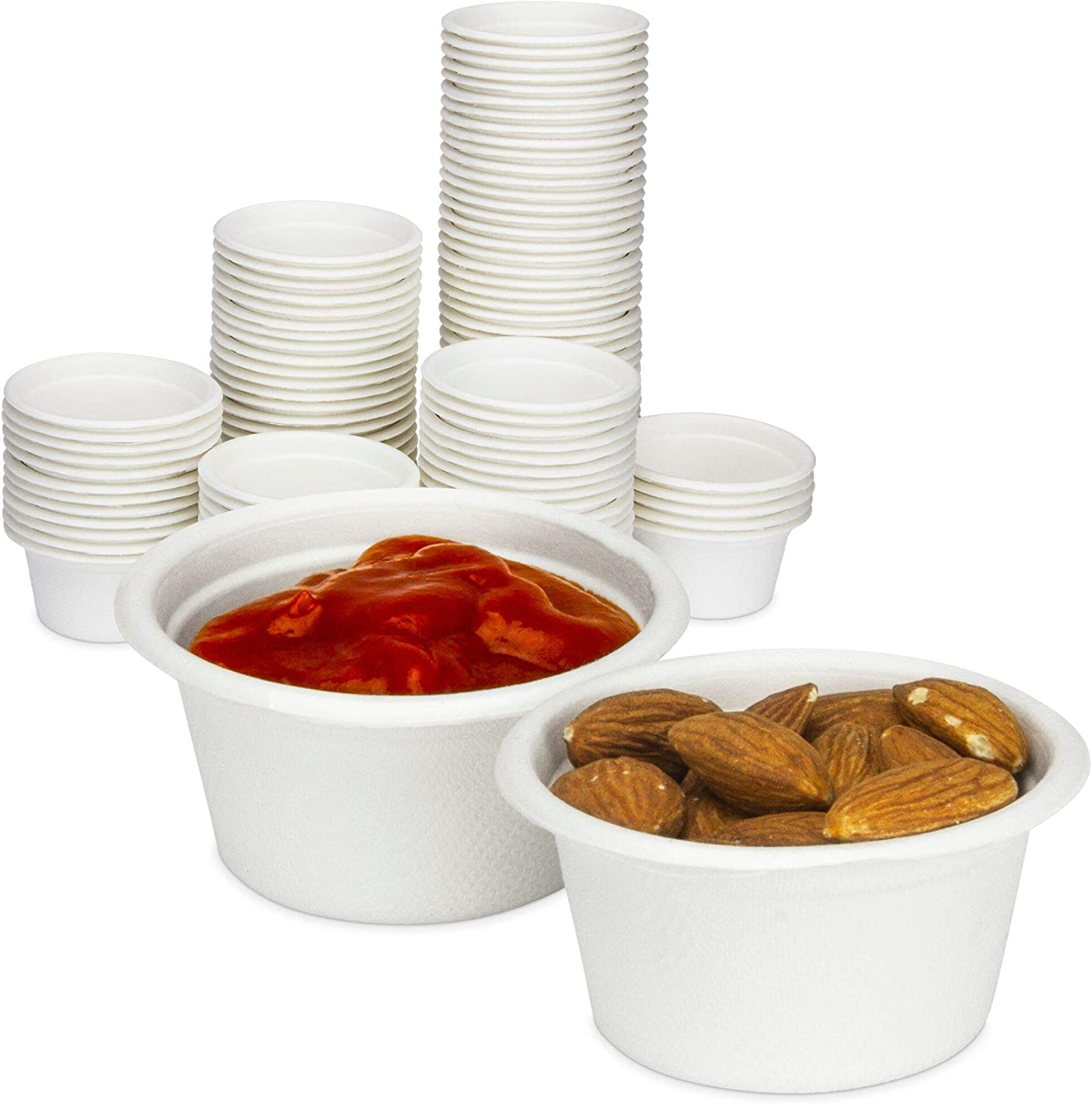 [100 Pack] 2 Oz White Compostable Disposable Cup - 100% Biodegradable Sugarcane/Bagasse, Paper and Plastic Cup Alternative, Eco Friendly Hot or Cold Food and Condiments Containers, Microwave Safe