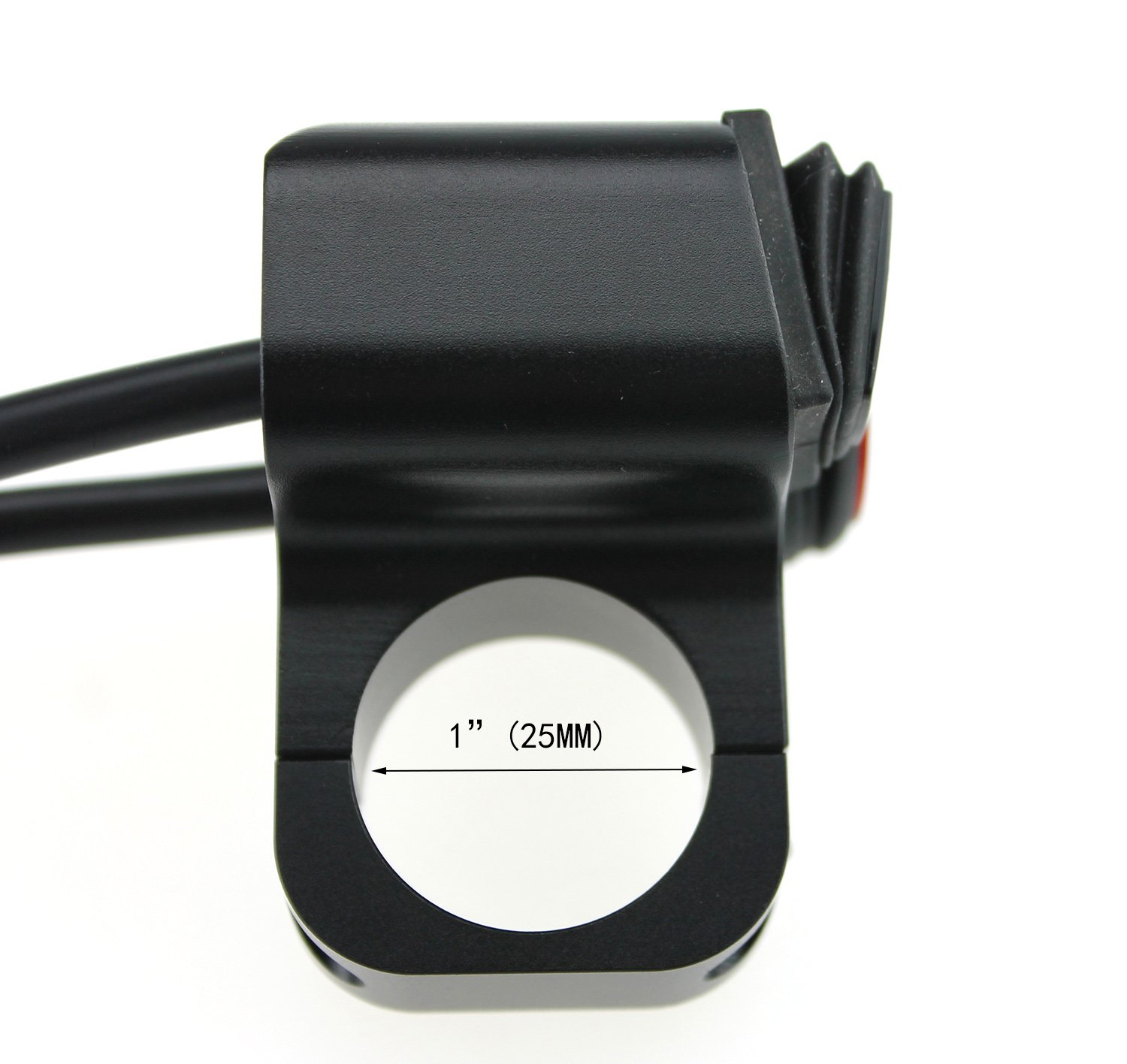 Red 12v 16A Waterproof Motorcycle ATV 1inch Handlebar Button Switch Headlight Hazard Brake Fog Light ON Off Switches