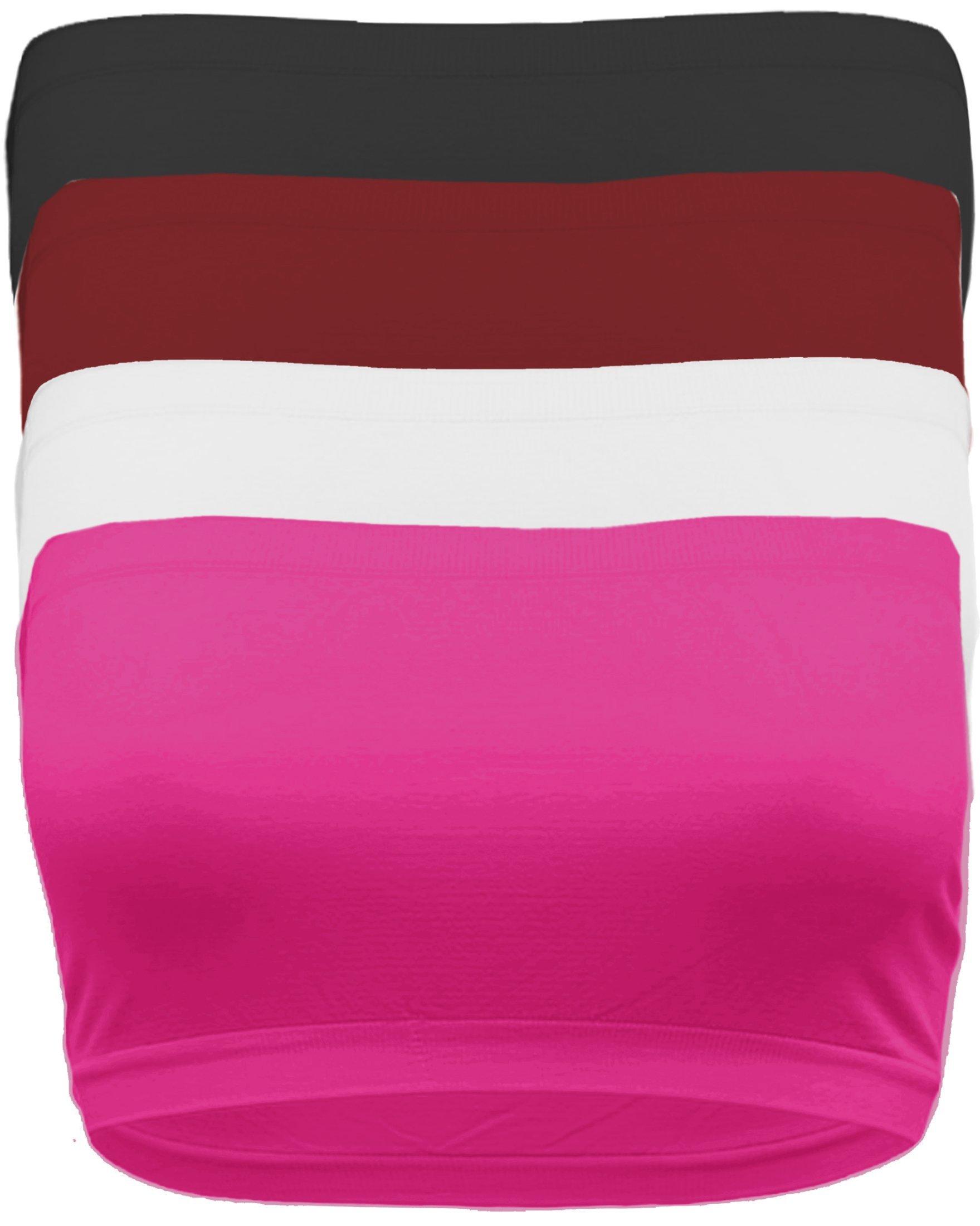 Ollie Arnes Curvy Women's Plus Size Non Padded Stretchy Soft Tube Top Bandeu Bra PLUSSIZE BK_WH_Fuch_Burg-Plus