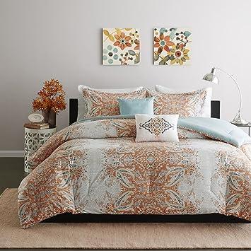 5 Piece Girls Orange Grey Blue Paisley Comforter Full Queen Set, Pretty All  Over Damask