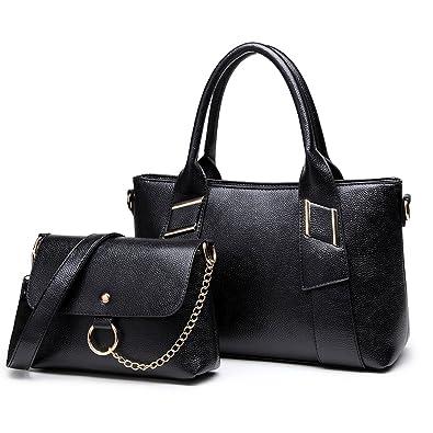 Miss Lulu Ladies Leisure Handbag Set Top Handle Cross Body bag 2 Pieces  with Multi Compartments 3eabf002fb778