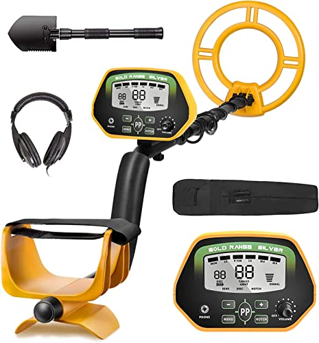 RM RICOMAX Metal Detector for Adults- IP68 Waterproof Metal Detector with Headphones, High Accuracy, All Disc Notch Pinpoint Modes , 10 Waterproof Search Coil, Adjustable Light