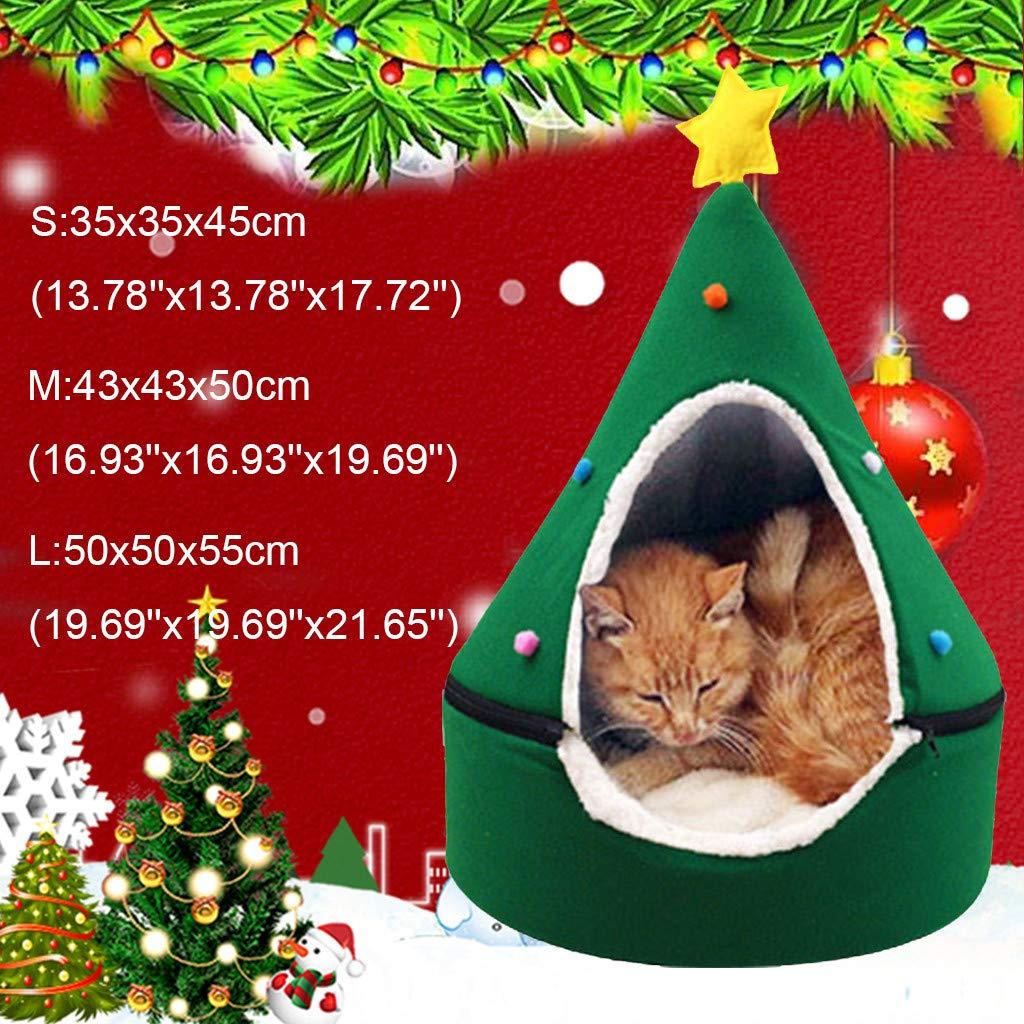 m·kvfa Christmas Tree Cat House Half Closed Semi-Closed Xmas Tree Shape Pet Nest Pet Bed Warm Soft Winter Pet Cat Tent for Indoor Cats Cave