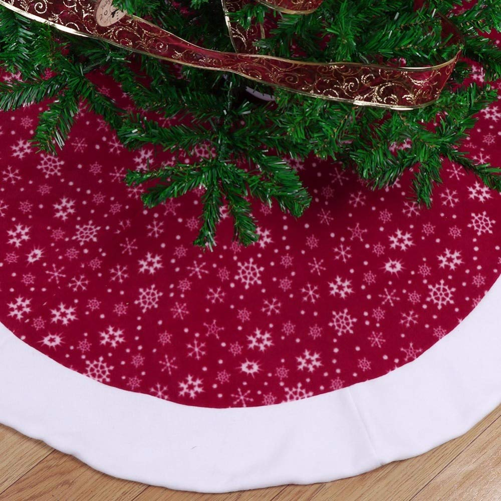 Christmas Tree Skirts 48 inch-Christmas Tree Skirts Velvet-Burgundy Traditional Red and White Snowflakes Christmas Tree Skirt-Christmas Tree Skirt Mat for Christmas Holiday Party Decoration (2) by Sky-Town (Image #3)