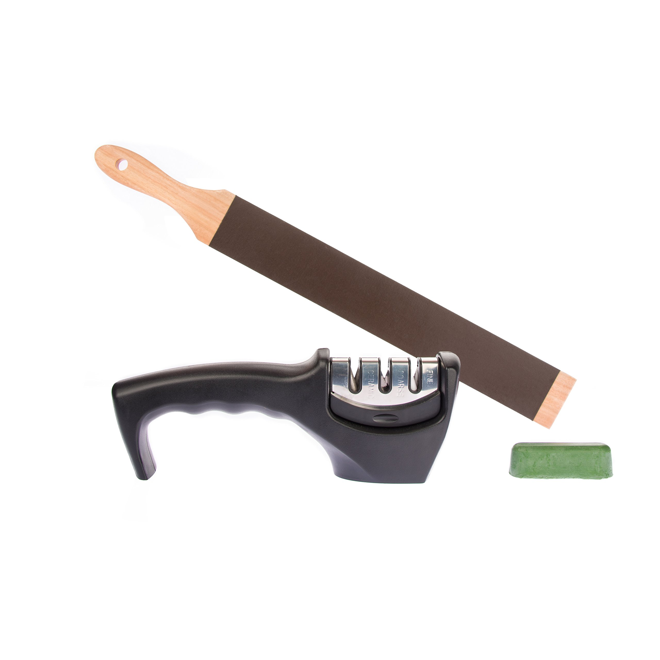 Edgewise Kitchens 3 Stage  Kitchen Knife Sharpener Kit with Wooden Paddle Strop and 8000 Grit Green Honing Compound.