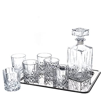 crystal decanter set australia with tray piece whiskey drink double old fashioned engraved