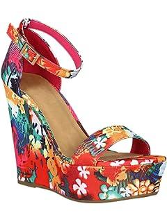06396dd99e Alrisco Women Fabric Tropical Printed Open Toe Platform Wedge Sandal RD59