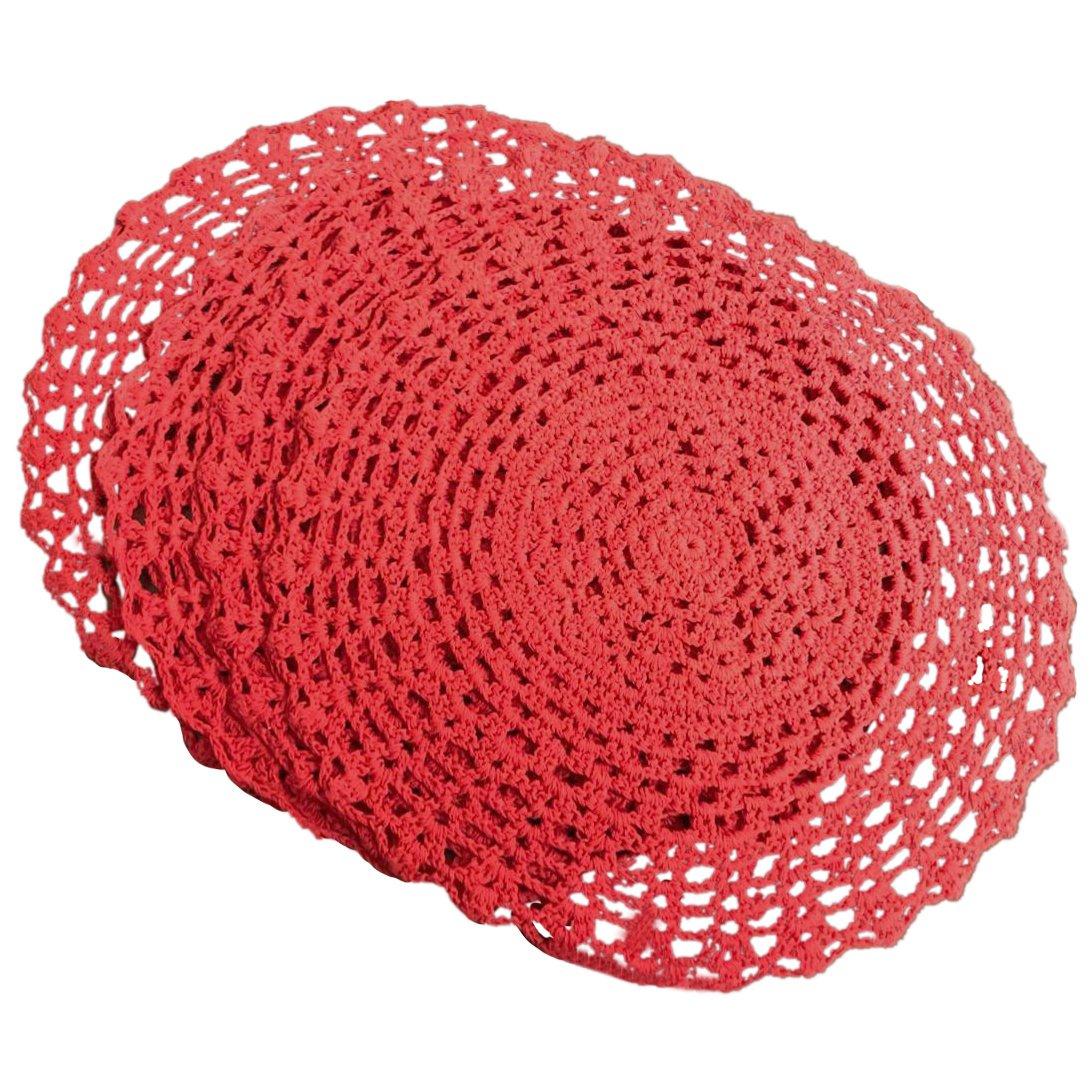 Amazon Ustide 4pcs Round Handmade Crochet Placemats Red Cotton