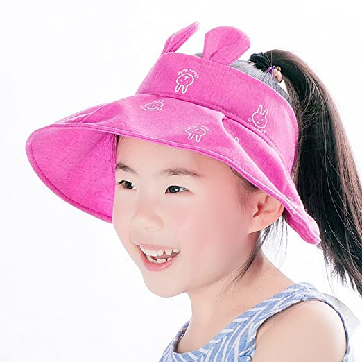 9890cdc6f4376 Image Unavailable. Image not available for. Color  Infasea Kids Girls Wide  Brim Visor Sun Hat - UV Protection Foldable Beach Cap ...