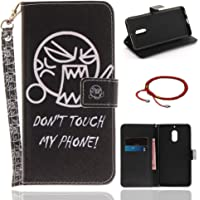GOCDLJ Nokia 6 PU Leather Flip Cover Cell Phone Case Anti Scratch Wallet Stand Function with Lanyard Strap Magnetic Holder Cash Pocket ID Card Slots Pouch Shell Design DON'T TOUCH MY PHONE