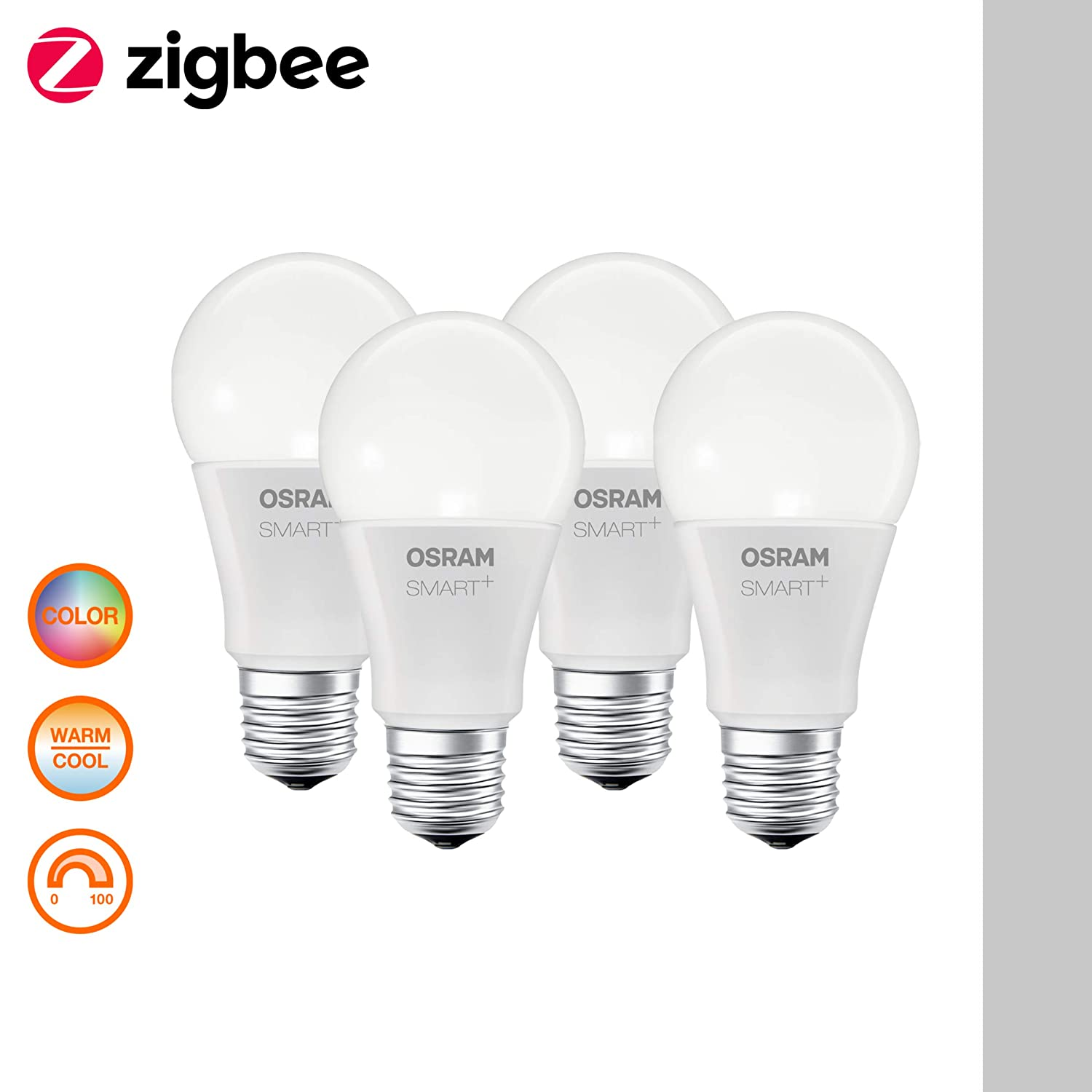 ZigBee Lamp with E14 Socket 2000K - 6500K 2. Gen. Compatible with Philips Hue Bridge dimmable Directly compatible with Echo Plus and Echo Show warm white to daylight OSRAM Smart+ LED