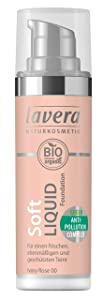 lavera Soft  Liquid Foundation -Ivory Rose 00- Base de maquillaje ∙ Fórmula líquida ∙  Natural tono de piel ∙ Vegan ✔ Cosmética Natural ✔ Bio ✔ Maquillaje  Organico 100% Certificado (30 ml)