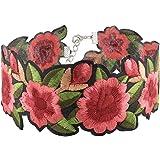 Yantu Women's Rose Flower Embroidery Choker Necklace