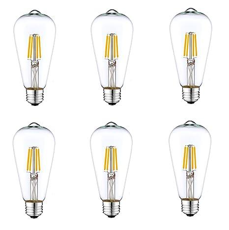 6 pack dc 12v nostalgic 3000k 6watt led edison filament st64 light bulb e26 e27 medium