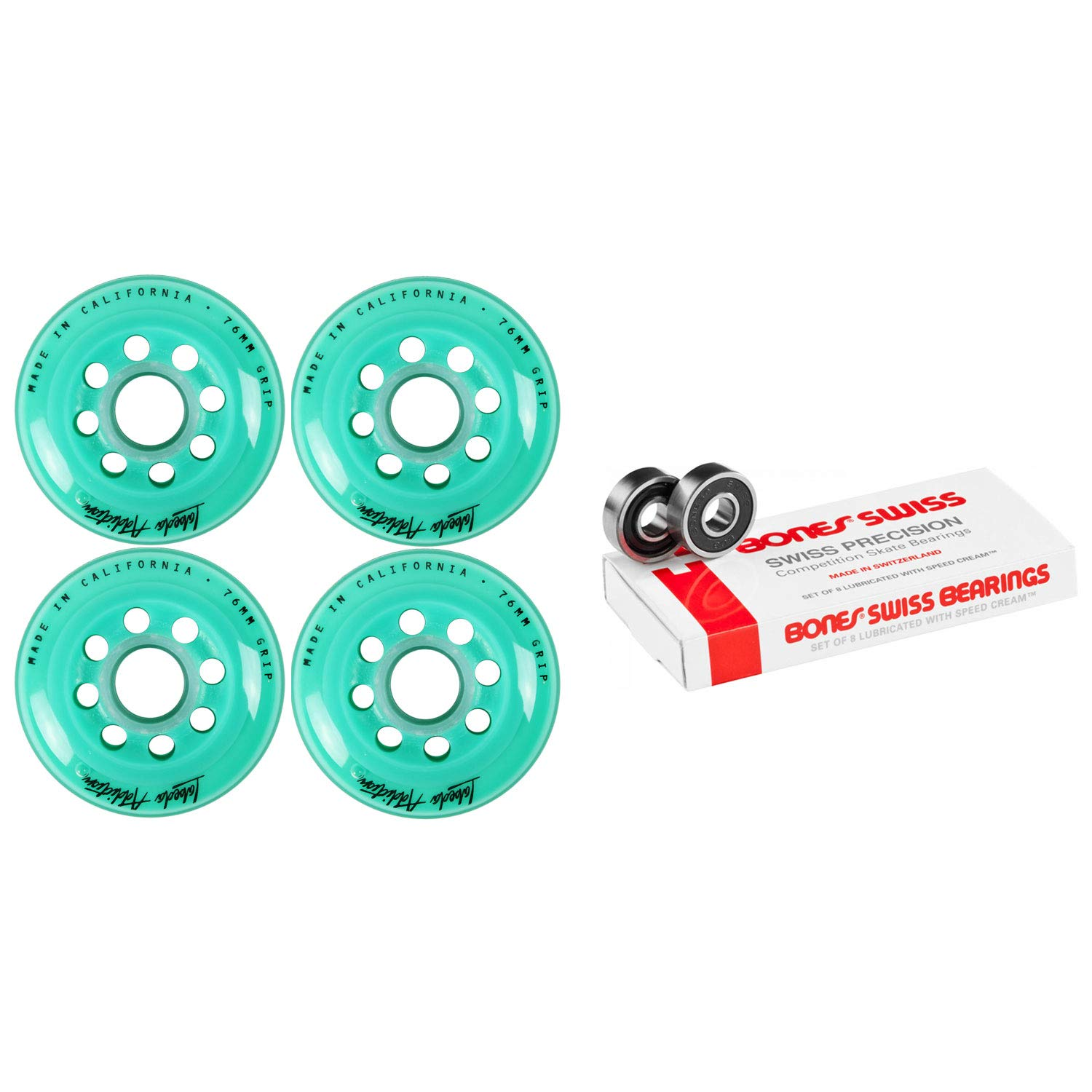 Labeda Inline Roller Hockey Skate Wheels Addiction Teal 76mm 4 Set Bones Swiss