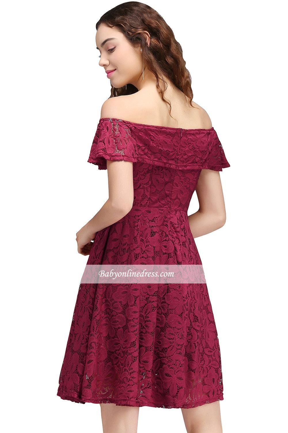 Q Christmas Big Promotion !Best Gift For Christmas! Sheath Off-The-Shoulder Short Burgundy Lace Homecoming Dresses (2, Burgundy)