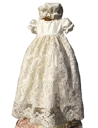 d0cd839738d Amazon.com: Aorme Ivory Baptism Dresses Beading Pearls Lace Christening  Gowns For Girls: Clothing