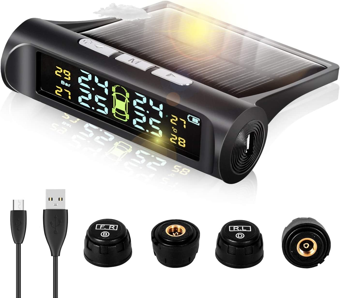 HD Large Screen 4 Tires Pressure and Temperature DEEWAZ Wireless TPMS Solar Powered Tire Pressure Monitoring System with 4 External Sensors Car TPMS Tire Auto Security Alarm