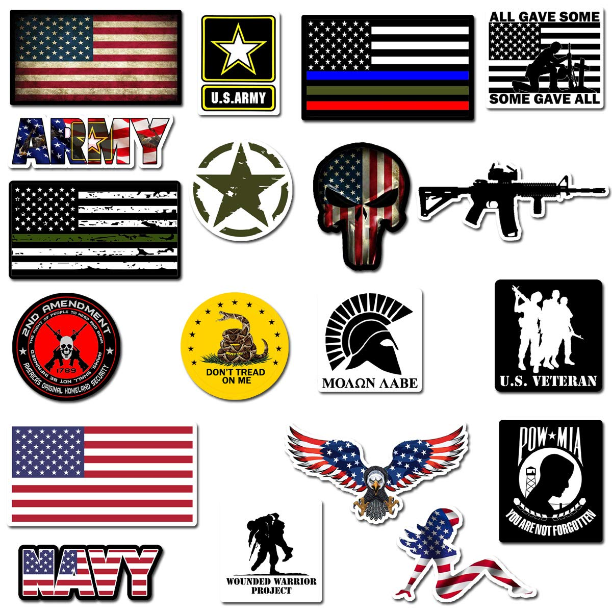 Hard Hat Stickers, Premium Thick Funny Vinyl Decals for Hardhat, Helmet, Toolbox, Laptop, Mug, Car Bumper and More | Waterproof | American Flag (Military Assort)