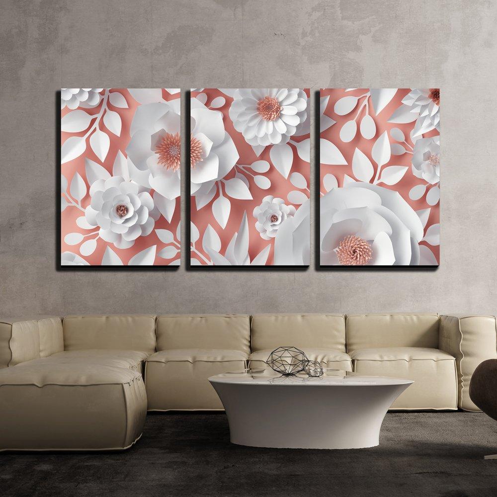 Digital 3d Paper Flower Wall Decor X 3 Panels Canvas Art Wall26