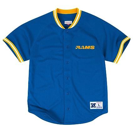 d128cc2a Mitchell & Ness Los Angeles Rams NFL Seasoned Pro Men's Button Up Jersey  Shirt