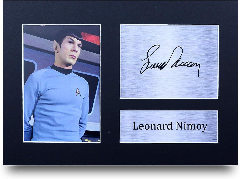 HWC Trading Leonard Nimoy A4 Encadr/é Sign/é Image Autographe Imprim/é Impression Photo Cadeau DAffichage pour Star Trek TV Show Ventilateurs
