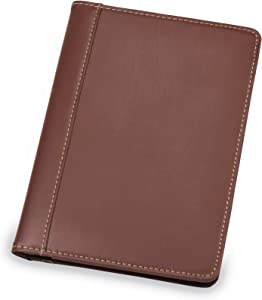 Samsill Contrast Stitch Leather Portfolio, Junior Size, 5 inch x 8 inch Writing Pad, Brown/Tan