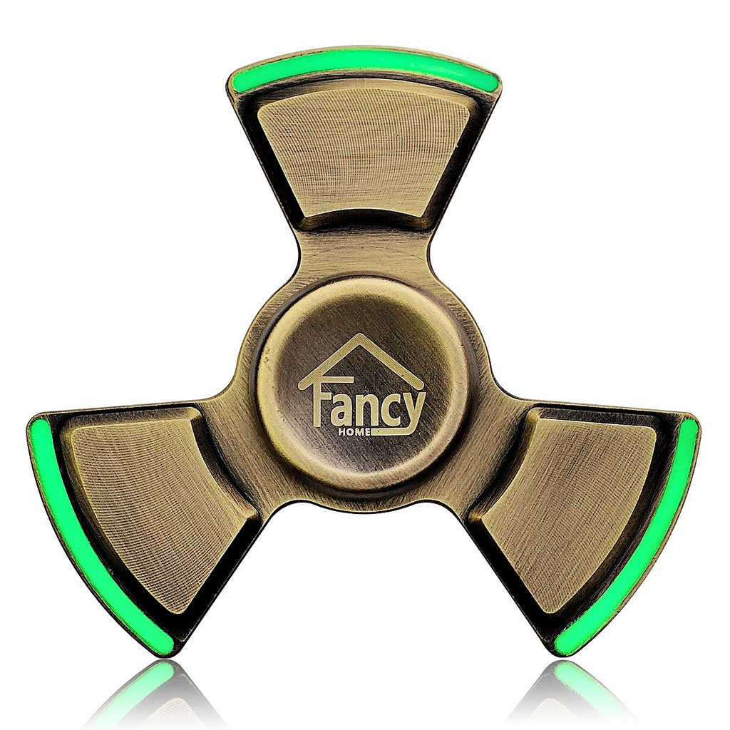 Fancy Home Anti-Anxiety Quiet Tri Fidget Hand Spinner EDC Toy for Relief from ADD ADHD, Anxiety and Boredom,Ceramic Bearing Last 5-8 Minutes Glow in The Dark Retro Bronze