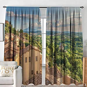 """NUOMANAN Window Curtains Tuscan,Sunset Rural Landscape Cypresses Forest Hills Greenery Blue Sky Clouds,Ivory Green and Blue,Fashionable Illustration Customized Curtain 54""""x84"""""""