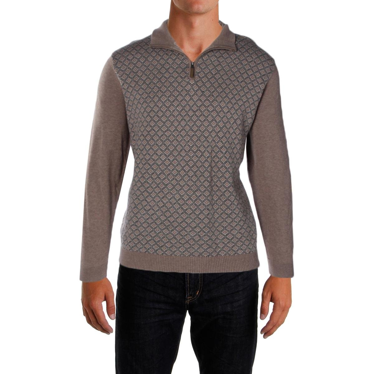 Tasso Elba Men's 1/4 Zip Diamond-Patterned Pullover Knit Sweater BHFO 63W00MDIAM