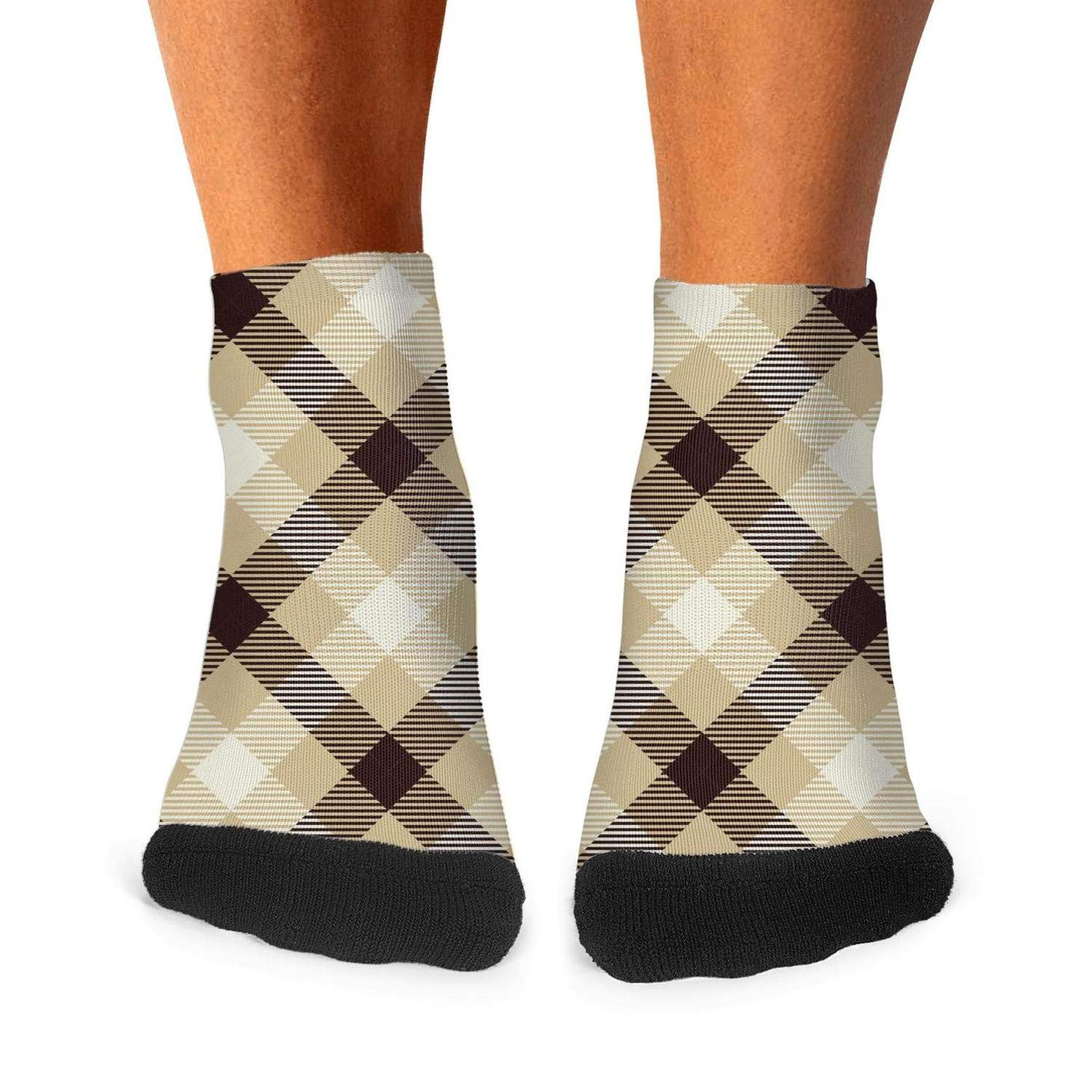 Cool British Plaid Lattice Checkerboard Fashion Mens Sporty Odor-Resistant Crew Socks