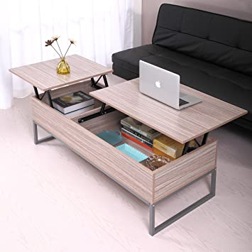 JAXPETY Lift Up Top Coffee Table With Under Storage Shelf Modern Living  Room Furniture (Log