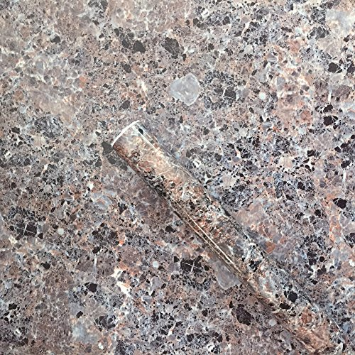 Moyishi Brown Granite Look Marble Gloss Film Vinyl Self Adhesive Counter Top Peel and Stick Wall Decal 12''x79''
