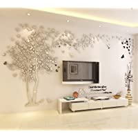 DIY 3D Giant Couple Tree Wall Decals Wall Stickers Crystal Acrylic Wall Décor Arts (XL, Silver, Left to Right)