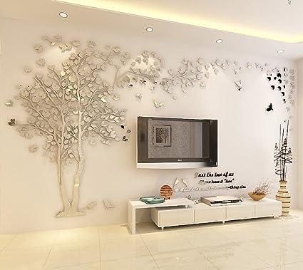 Diy 3d Riesiger Baum Paar Wandtattoos Wandaufkleber Kristall Acryl Malen Wanddeko Wandkunst S Silber Recht