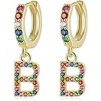 Qings Pendientes Letras para Niñas Mujeres, Pendientes aros con Colgante Iniciales A-Z Circonitas Colores 925 plata de…