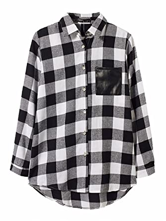 Damen Plaid Check Shirtkleid Asymmetrisch Kariert Oversize Longshirt Tops Bluse