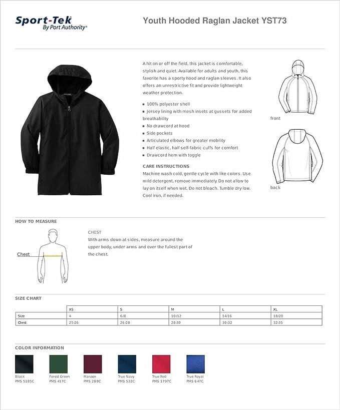 Sport-Tek Youth Stylish Sporty Hooded Raglan Sleeve Jacket Medium Forest Green