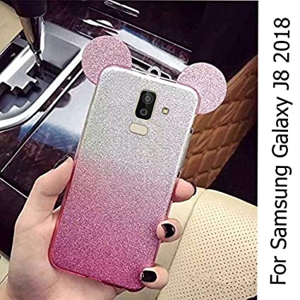 timeless design d791c 35ec5 KC Cute Ears Gradient Glitter 2 in 1 Transparent Soft Back Cover for  Samsung Galaxy J8 Infinity (Pink)
