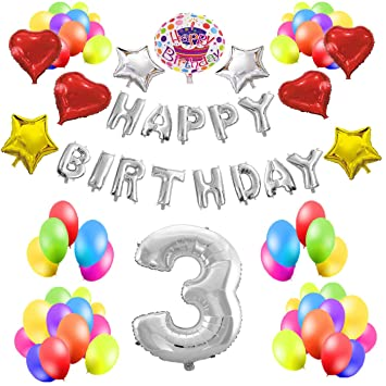 COTIGO - Kit de Globos Cumpleaños Happy Birthday #3 Color Plateado, Año 3