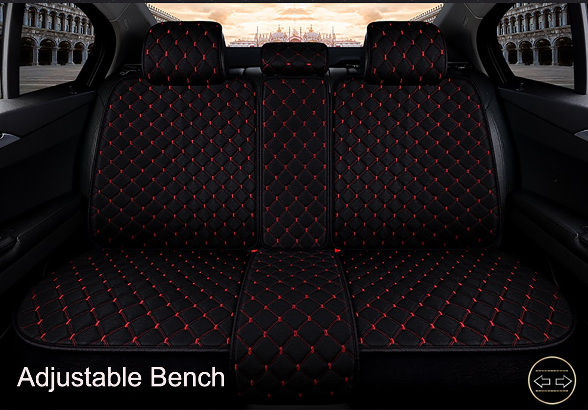 INCH EMPIRE Anti Slip Car Seat Cover Full Set Cloth Universal Fit Front and Back Breathable Dirty Proof Fabric Cushion-Adjustable Bench for 95% Types of 5 Seats Cars(Black with Red Stitch Grid) by INCH EMPIRE (Image #3)